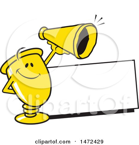 Clipart of a Gold Trophy Cup Mascot by a Blank Sign, Holding a Cheerleading Cone - Royalty Free Vector Illustration by Johnny Sajem