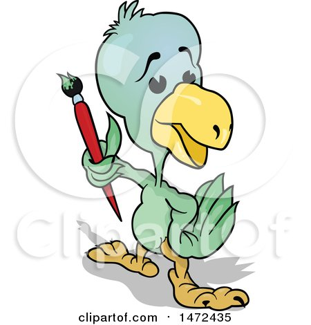 Clipart of a Parrot Holding a Paintbrush - Royalty Free Vector Illustration by dero
