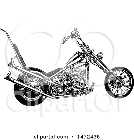 Clipart of a Black and White Chopper Motorcycle - Royalty Free Vector Illustration by dero