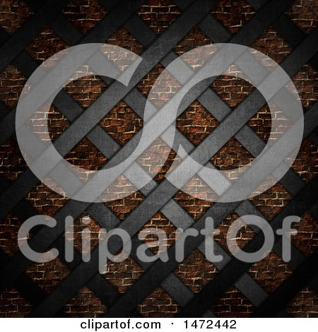 Clipart of a 3d Black Metal Lattice over a Brick Wall - Royalty Free Illustration by KJ Pargeter