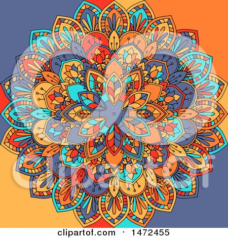 Clipart of a Colorful Mandala - Royalty Free Vector Illustration by KJ Pargeter