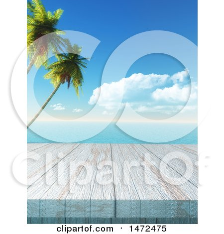 Clipart of a 3d Wood Surface Against a Tropical Ocean - Royalty Free Illustration by KJ Pargeter