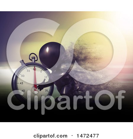 Clipart of a 3d Black Man Runner Taking off on Starting Blocks by a Giant Stop Watch - Royalty Free Illustration by KJ Pargeter