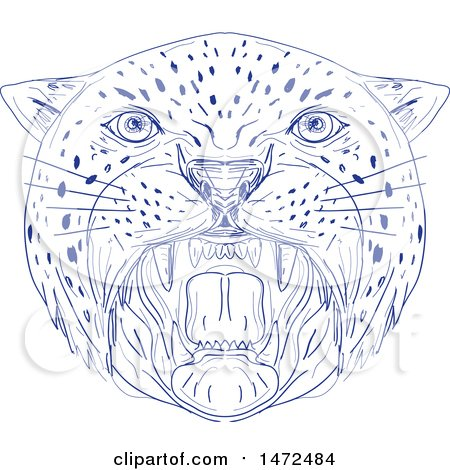 Clipart of a Sketched Angry Big Cat Head Roaring - Royalty Free Vector Illustration by patrimonio