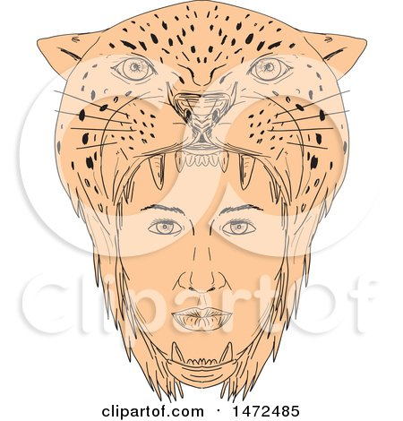 Clipart of a Sketched Female Aztec Warrior Wearing Jaguar Headdress - Royalty Free Vector Illustration by patrimonio
