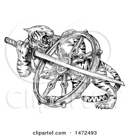 Clipart of a Tattoo Sketch of a Tiger with a Katana Sword and Dharma Wheel, on a White Background - Royalty Free Illustration by patrimonio