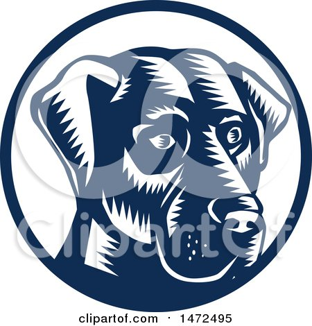 Clipart of a Woodcut Labrador Retriever Dog Face in a Navy Blue and White Circle - Royalty Free Vector Illustration by patrimonio