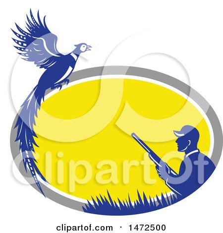 Clipart of a Retro Male Hunter and Pheasant in a Gray White Yellow and Blue Oval Frame - Royalty Free Vector Illustration by patrimonio