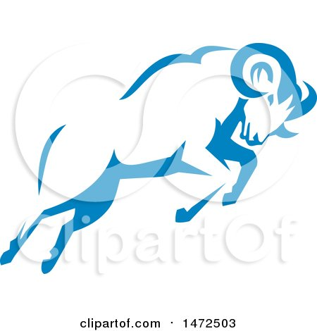 Clipart of a Charging Blue Ram in Retro Style - Royalty Free Vector Illustration by patrimonio