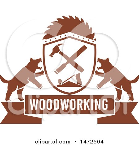 Clipart Of A Woodworking Banner With Tasmanian Devils And