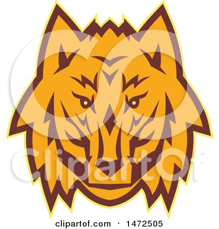 Clipart of a Retro Wolf Face - Royalty Free Vector Illustration by patrimonio