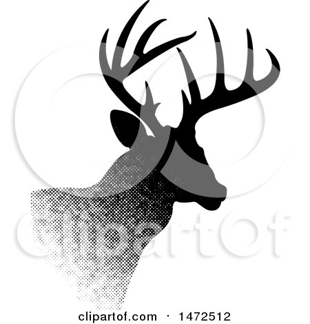 Clipart of a Profiled Buck Deer in Halftone Dots - Royalty Free Vector Illustration by Lal Perera