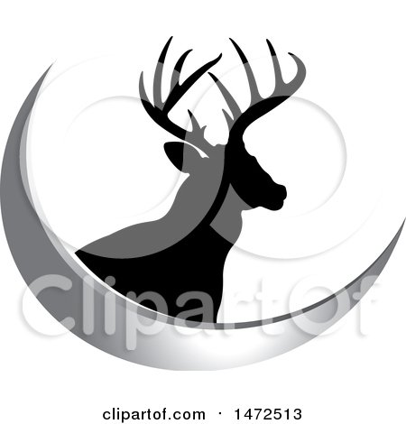Clipart of a Silhouetted Buck Deer Stag and a Silver Swoosh - Royalty Free Vector Illustration by Lal Perera