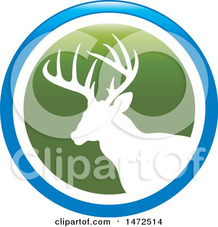 Clipart of a Silhouetted Buck Deer Stag in a Green White and Blue Circle - Royalty Free Vector Illustration by Lal Perera