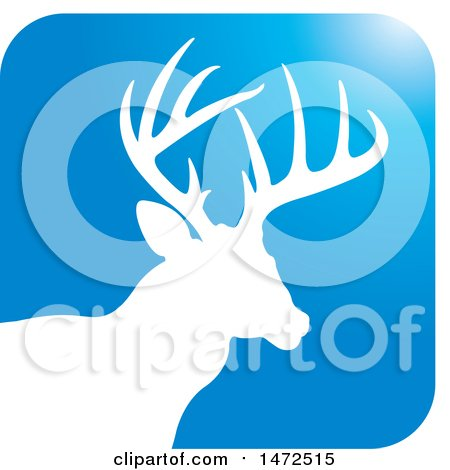 Clipart of a Silhouetted Buck Deer Stag in a Blue Square Icon - Royalty Free Vector Illustration by Lal Perera
