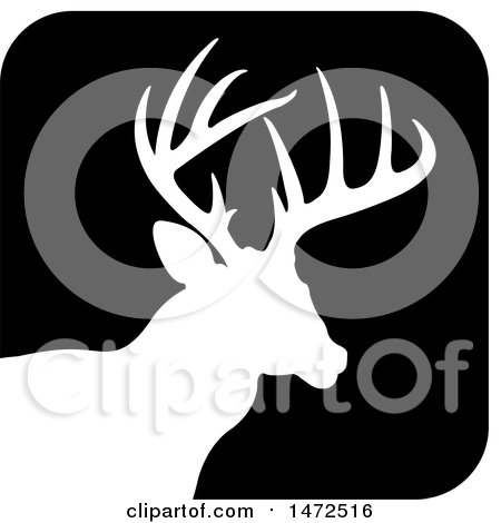 Clipart of a Silhouetted Buck Deer Stag in a Black Square Icon - Royalty Free Vector Illustration by Lal Perera