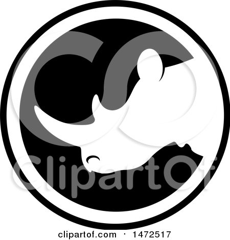 Clipart of a Black and White Rhinoceros Mascot Icon - Royalty Free Vector Illustration by Lal Perera