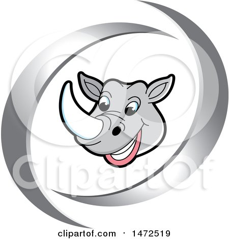 Clipart of a Rhinoceros Mascot Face in Silver Swooshes - Royalty Free Vector Illustration by Lal Perera