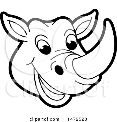 Clipart of a Black and White Rhinoceros Mascot Face - Royalty Free Vector Illustration by Lal Perera
