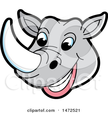 Clipart of a Rhinoceros Mascot Face - Royalty Free Vector Illustration by Lal Perera