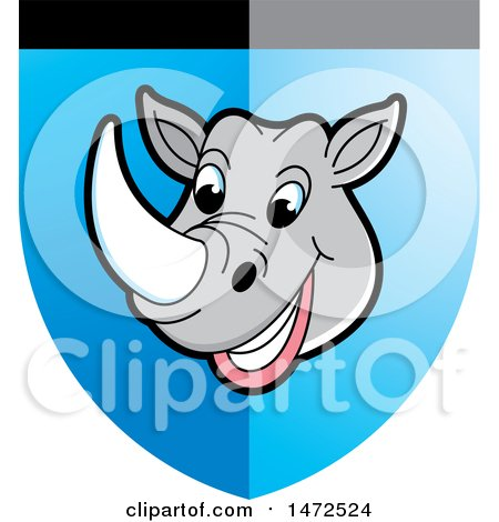 Clipart of a Rhinoceros Mascot Face in a Shield - Royalty Free Vector Illustration by Lal Perera