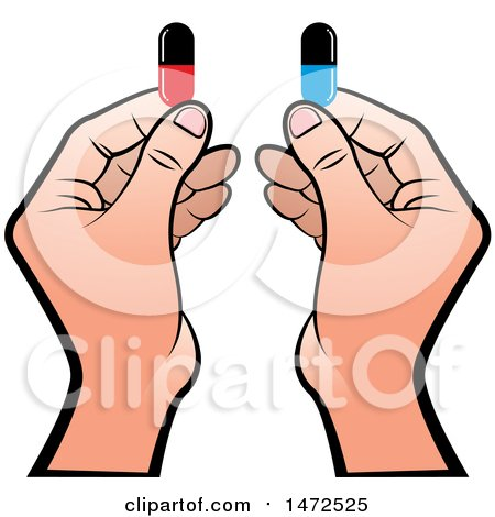 Clipart of Hands Holding Pill Capsules - Royalty Free Vector Illustration by Lal Perera
