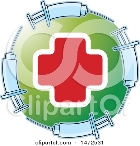 Clipart of a Medical Cross in a Green Circle with Syringes - Royalty Free Vector Illustration by Lal Perera