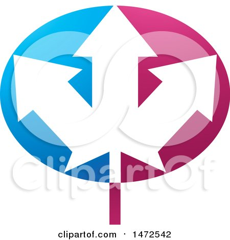 Clipart of an Abstract Arrow Leaf Design - Royalty Free Vector Illustration by Lal Perera