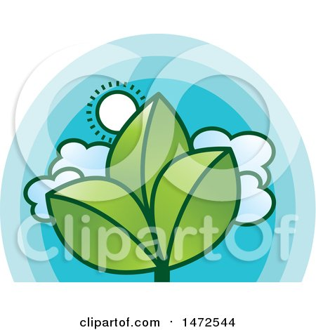 Clipart of a Sunny Sky and Green Leaves Design - Royalty Free Vector Illustration by Lal Perera