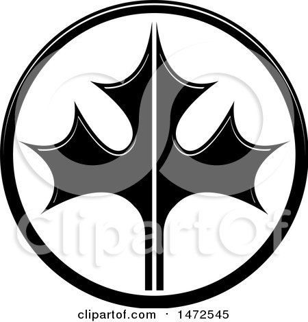 Clipart of a Black and White Maple Leaf in a Circle - Royalty Free Vector Illustration by Lal Perera