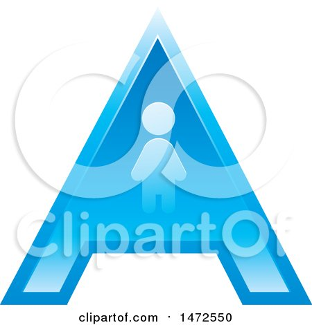 Clipart of a Blue Letter a Icon with a Person - Royalty Free Vector Illustration by Lal Perera