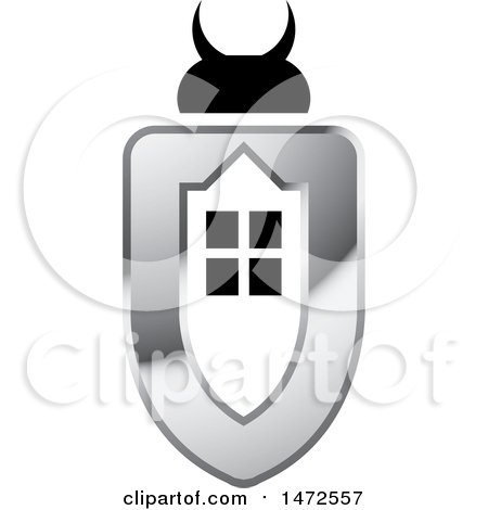 Clipart of a Silver and Black Beetle House Shield Design - Royalty Free Vector Illustration by Lal Perera