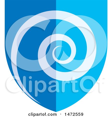 Clipart of a Blue Spiral Shield - Royalty Free Vector Illustration by Lal Perera