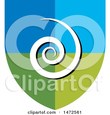 Clipart of a Blue and Green Spiral Shield - Royalty Free Vector Illustration by Lal Perera