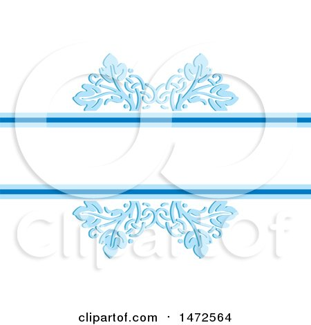 Clipart of a Blue Floral Border with Text Space - Royalty Free Vector Illustration by Lal Perera