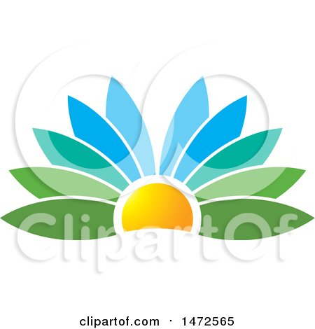 Clipart of a Flower Petal Sunset Design - Royalty Free Vector Illustration by Lal Perera