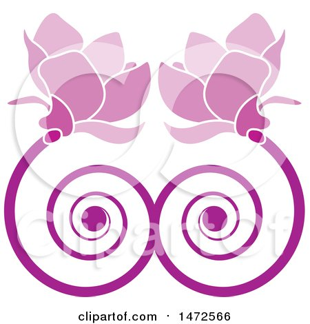 Clipart of a Doubple Pink Spiral Flower Design - Royalty Free Vector Illustration by Lal Perera
