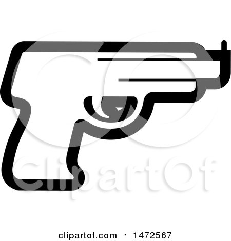 Clipart of a Black and White Pistol Icon - Royalty Free Vector Illustration by Lal Perera