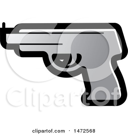 Clipart of a Silver Pistol Icon - Royalty Free Vector Illustration by Lal Perera