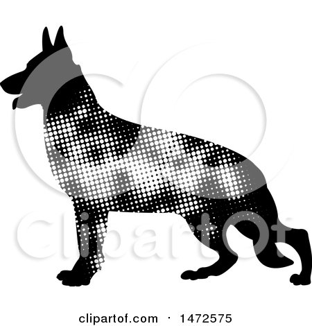 Clipart of a Profiled German Shepherd Dog in Halftone Dots - Royalty Free Vector Illustration by Lal Perera