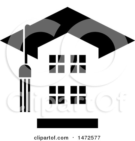 Clipart of a Building with a Tassel and Graduation Cap Roof - Royalty Free Vector Illustration by Lal Perera