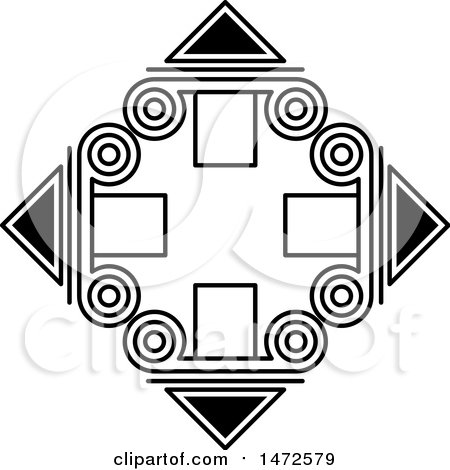 Clipart of a Black and White Diamond with Spirals and Triangles - Royalty Free Vector Illustration by Lal Perera