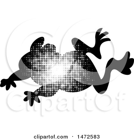 Clipart of a Leaping Frog in Halftone Dots - Royalty Free Vector Illustration by Lal Perera