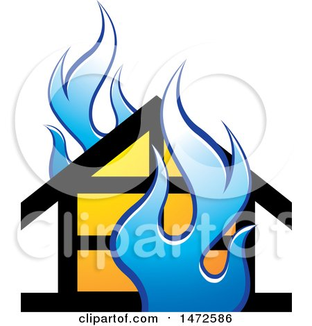 Clipart of a House and Blue Flames Icon - Royalty Free Vector Illustration by Lal Perera