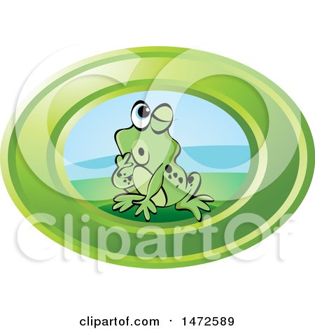 Clipart of a Frog in a Green Oval - Royalty Free Vector Illustration by Lal Perera