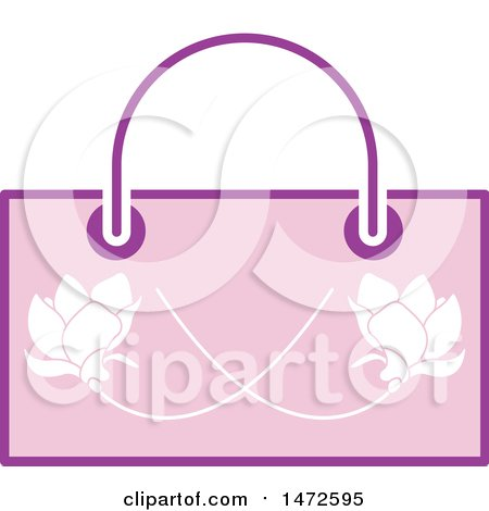 Clipart of a Pink Floral Hand Bag - Royalty Free Vector Illustration by Lal Perera
