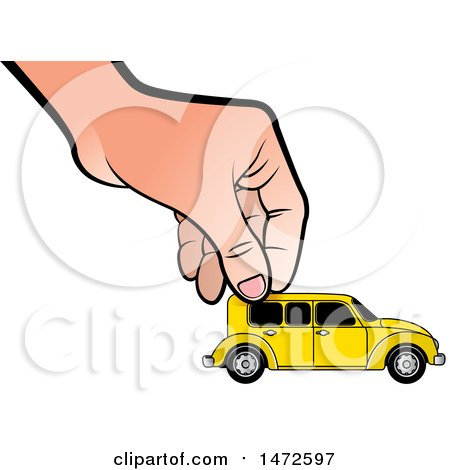 Clipart of a Hand Moving a Toy Vintage Car - Royalty Free Vector Illustration by Lal Perera