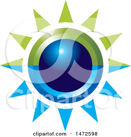 Clipart of a Green and Blue Sun Icon - Royalty Free Vector Illustration by Lal Perera