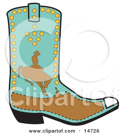 Turquoise And Brown Boot Of A Cowboy In Silhouette, Riding A Bucking Bronco Clipart Illustration by Andy Nortnik