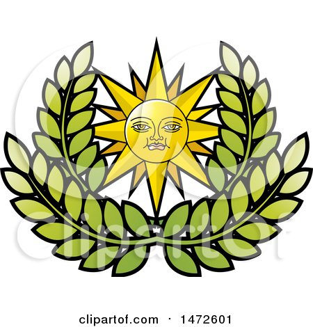 Clipart of a Sun Face over Leaves - Royalty Free Vector Illustration by Lal Perera